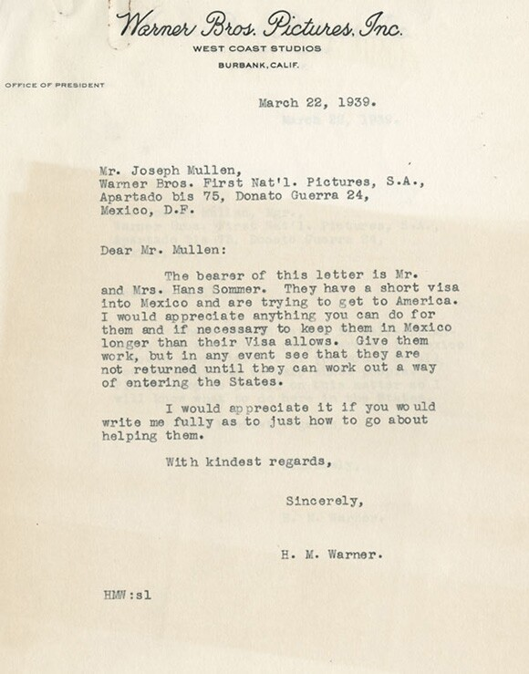 March,1939 Harry Warner letter regarding Mr & Mrs. Hans Sommer's visas<br /> Courtesy of the USC Libraries -- Jack L. Warner  Collection.