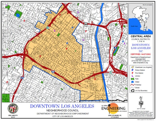 The Downtown Los Angeles Neighborhood Council's boundaries exclude the Arts District, Little Tokyo, and Union Station.