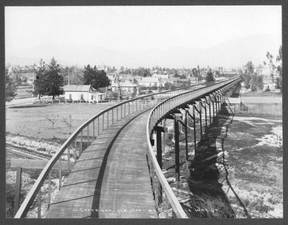 California Cycleway crossing railroad tracks in 1900. Courtesy of Pasadena Museum of History - Main Photo Collection