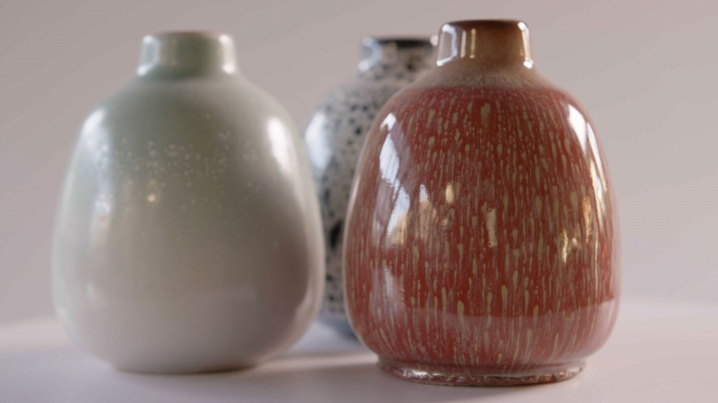 "Heathware showcasing glazes | Still from ""Artbound"" Heath Ceramics"