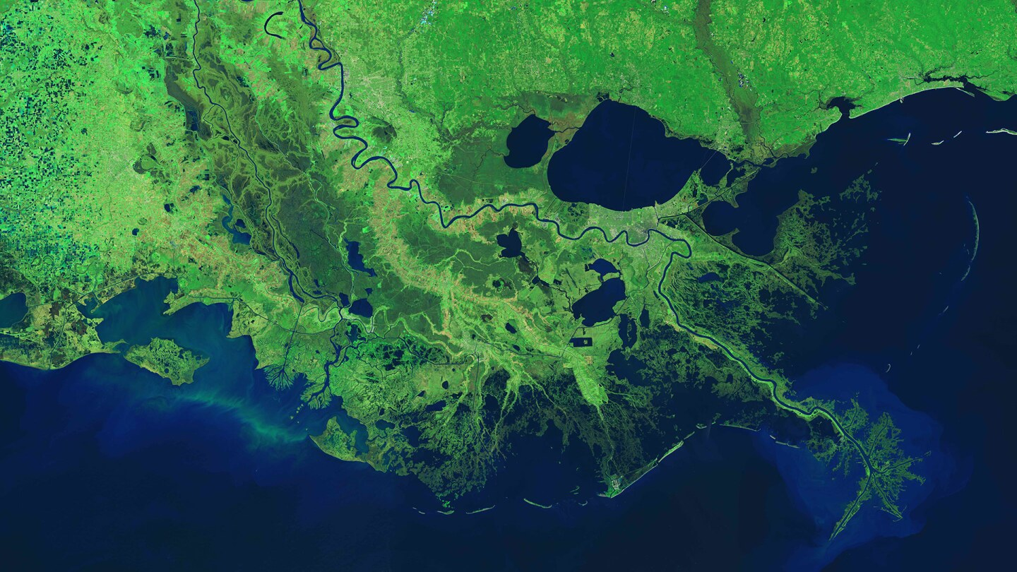 The Mississippi River in Louisiana along with its distributary, the Atchafalaya River as seen from a NASA satellite,