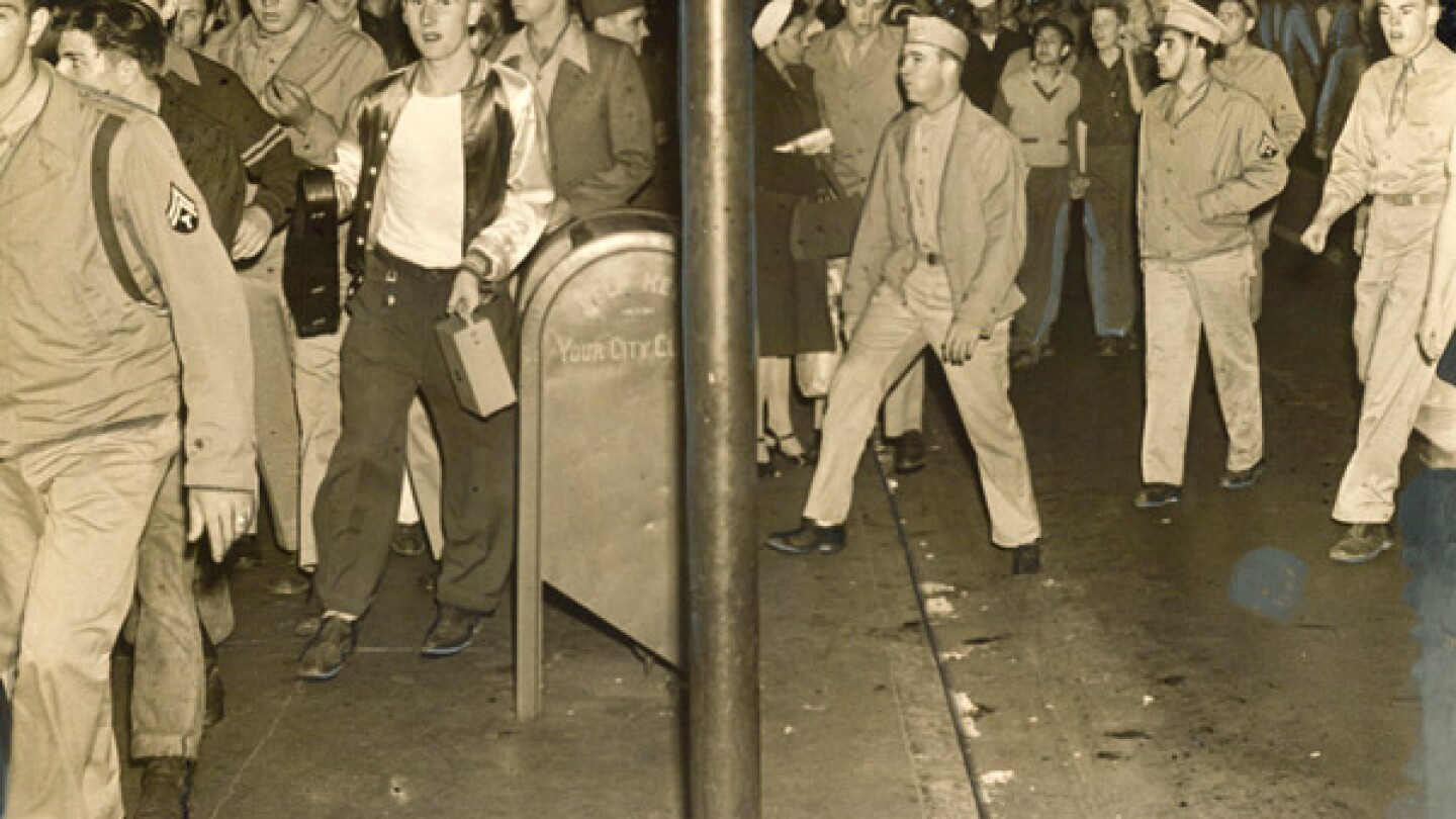 For several days in June 1943, uniformed members of the U.S. armed forces rioted throughout Los Angeles, targeting young men in zoot suits. Courtesy of the Los Angeles Examiner Collection, USC Libraries.