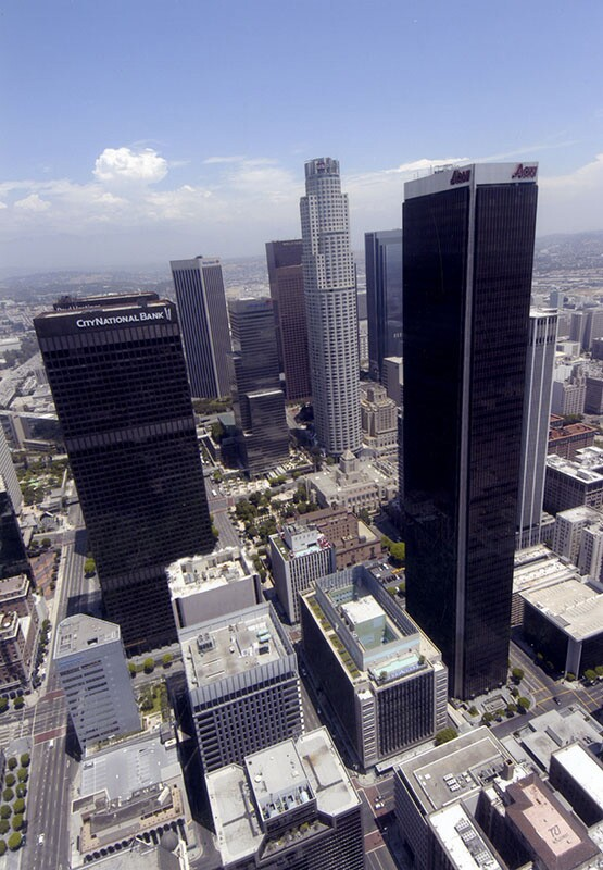 Panoramic view of Downtown Los Angeles, with the AON on the left | Photo Courtesy of the Los Angeles Public Library