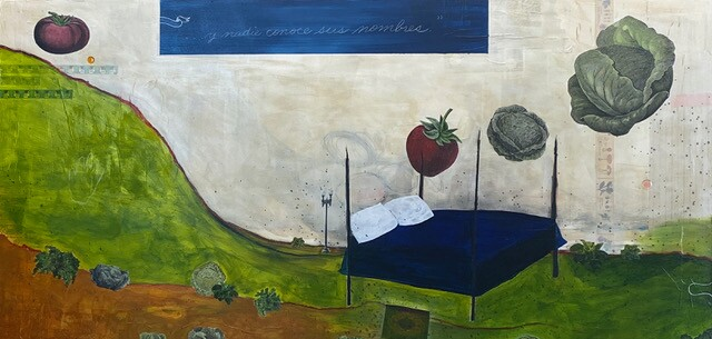 A painting of a a bed and floating vegetables by Monika Ramirez Wee.