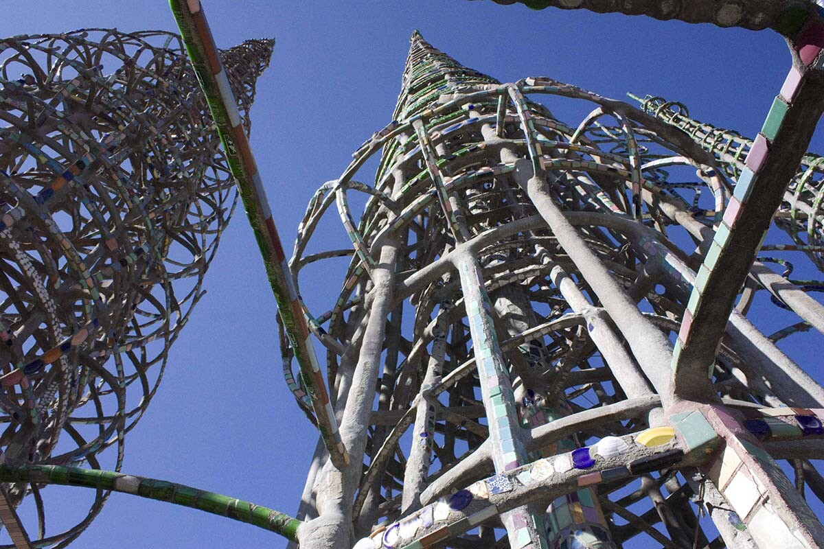 Watts Towers view from below.