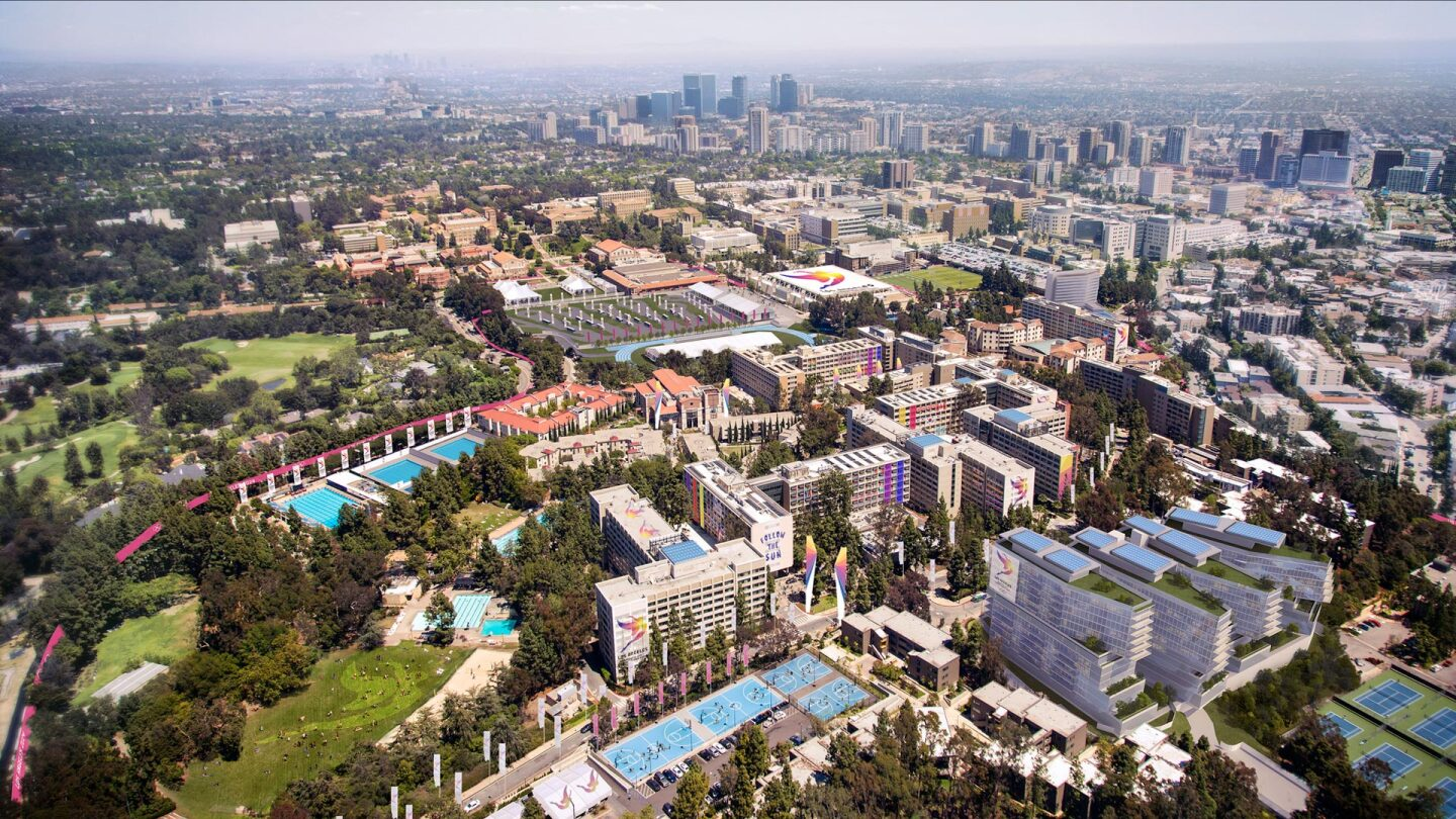 aerial view of the ucla campu - looking east with downtown and westwoodin the distance