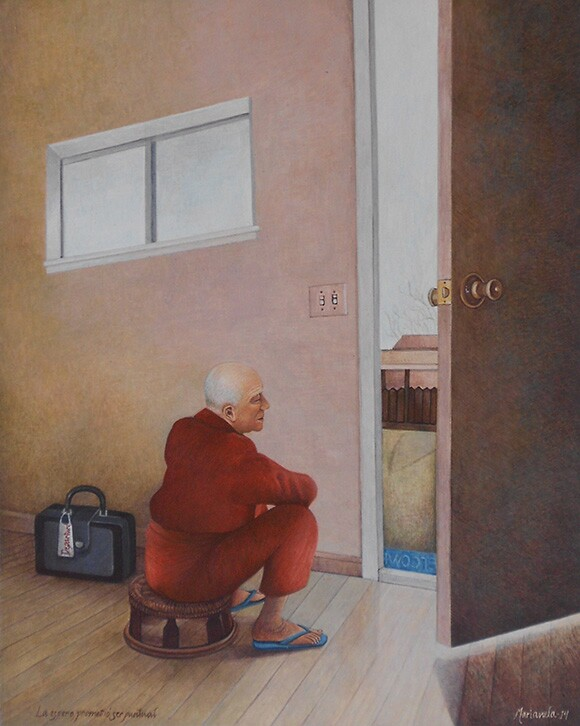 &quot;<em>La espero, prometió ser puntual</em>&quot; / &quot;I Wait for Her, She Promised to Be on Time,&quot; 2014. 10 x 8 in. Egg tempera on board.