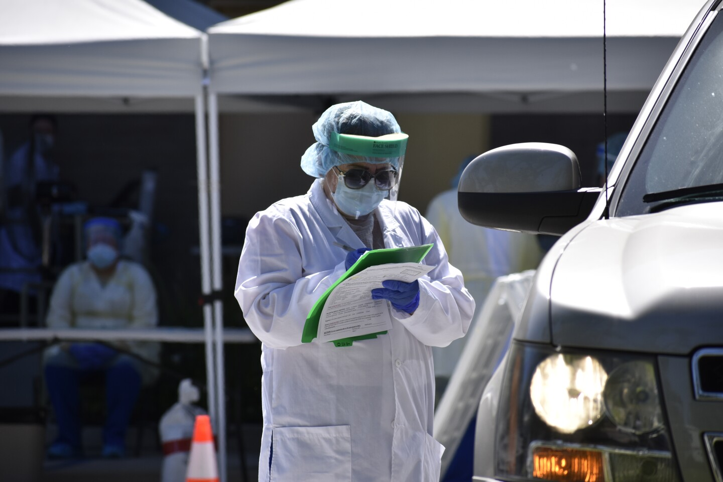 A health worker at a COVID-19 testing site in West Covina. | Courtesy of Altamed