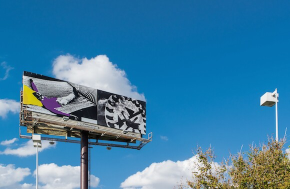 John Baldessari, Love and Work, 10 billboards, San Antonio, TX, 2014.  A LAND Exhibition: The Manifest Destiny Billboard Project. | Photo courtesy of Jennifer Siu-Rivera.