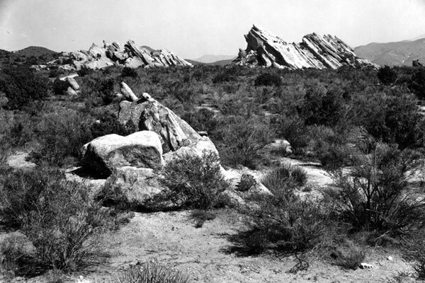 Vasquez Rocks, located between Santa Clarita and the Antelope Valley, was once a favorite hiding spot for Vasquez. Photo courtesy of Los Angeles Public Library.