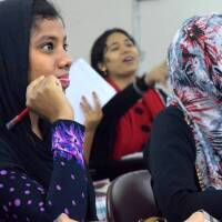 Students from Asian University for Women's pathway program in a classroom in February 2017. | Handout/Asian University for Women