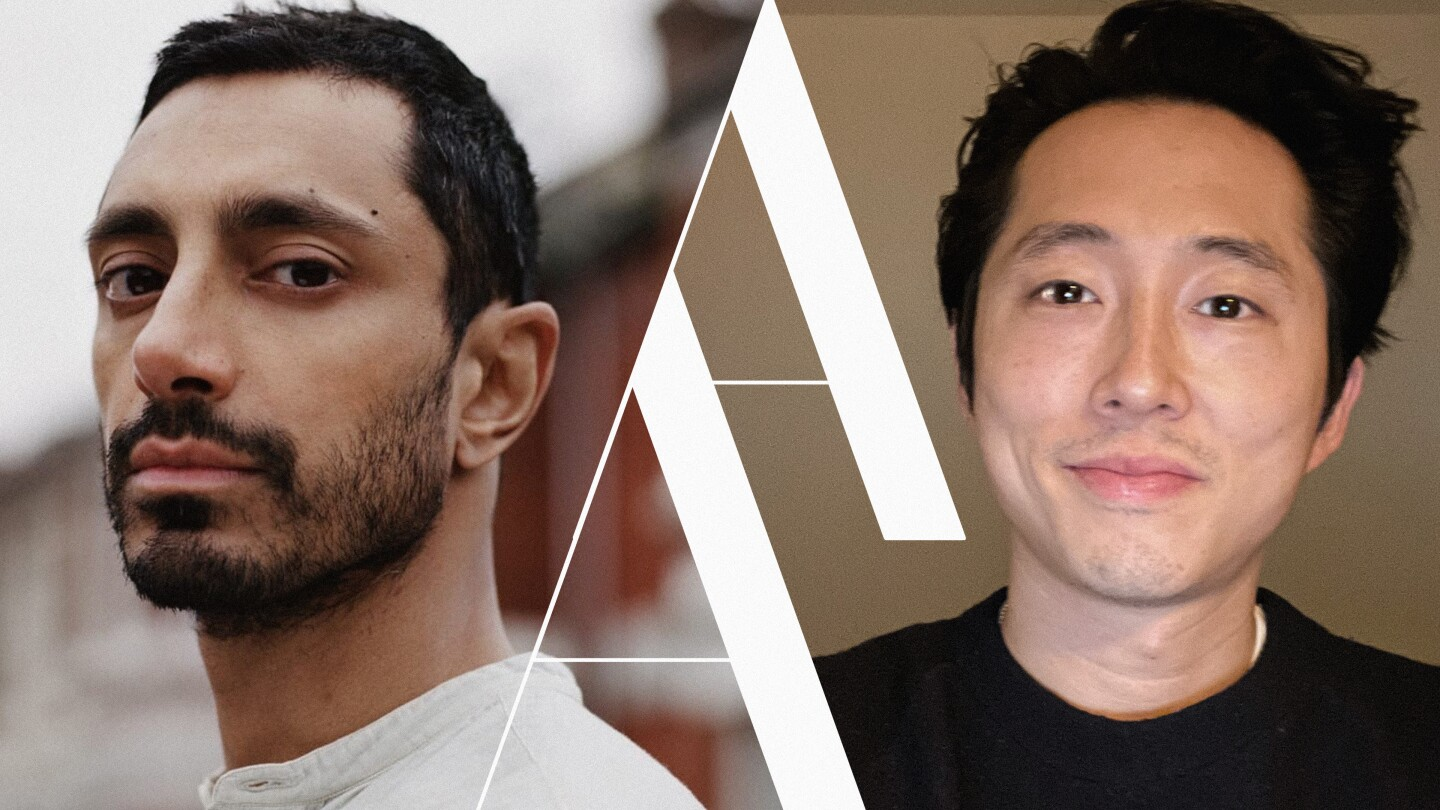 Riz Ahmed side by side with a photo of Steven Yeun