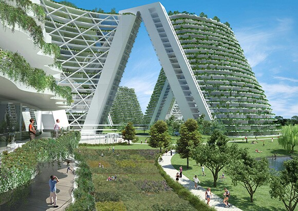 Habitat of the Future, A Frame Landscape View | Safdie Architects