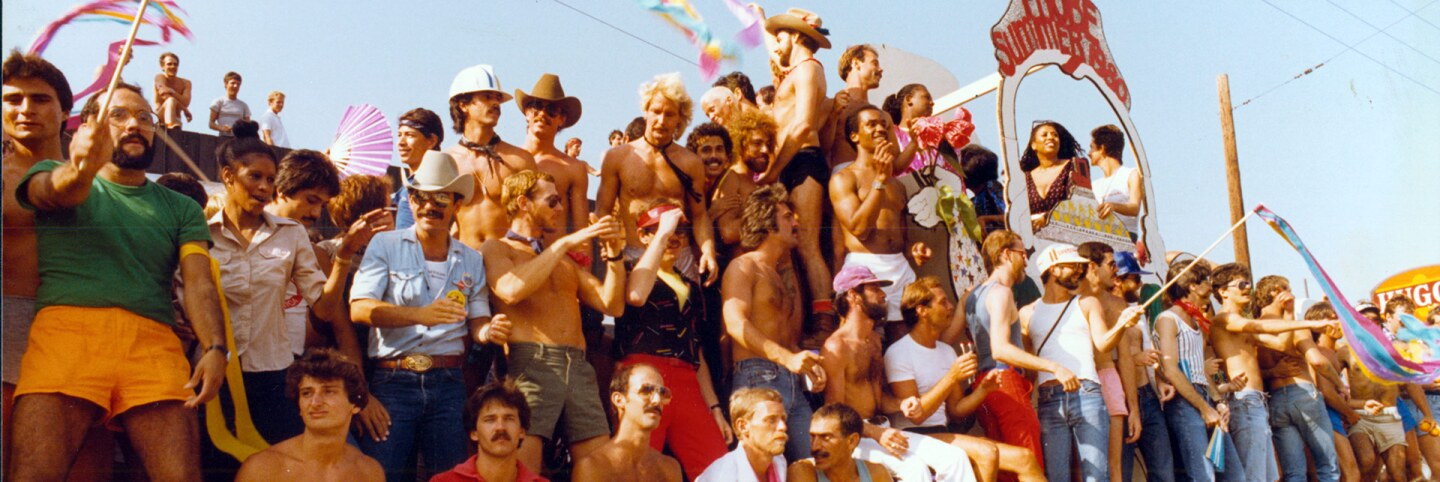 """PROBE Summer of 1980"" float at Los Angeles Christopher Street West pride parade, 1980. 
