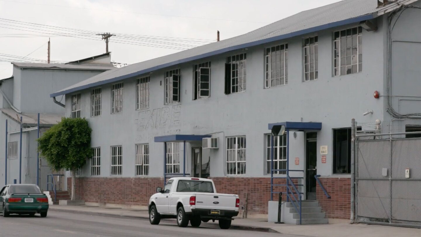"""Outside of former Exide Technologies battery recycling plant. 