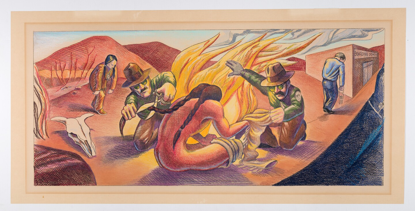 "A final coloration of Judy Baca's ""The Great Wall of Los Angeles 1950: Indian Assimilation."" A person, assumed to be Indigenous, can bee seen sitting in front of a fire with braids down their back as an individual in a brimmed hat and sunglasses is seen cutting off the person's braids with scissors."