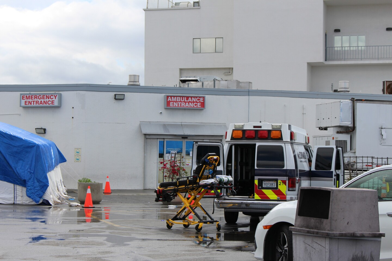 Outside the Emergency Room of a Gardena hospital April 2020