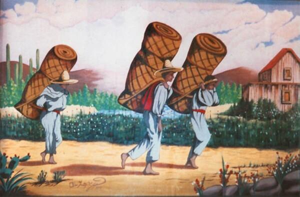 Ronald Lopez, Mija's Restaurant, San Marino, CA, 2000, 8' x 4', Acrylic on canvas mounted on wall