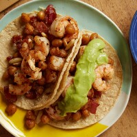 Shrimp, Bacon and Crispy Chickpea Tacos with Smooth Guacamole from Pati's Mexican Table.