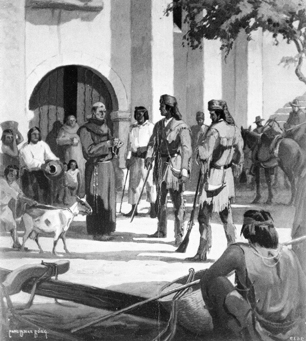 Trapper Jedediah Smith arrives at Mission San Gabriel, 1826. Photograph of a painting by Carl Borg. Courtesy of the USC Libraries' Title Insurance and Trust / C.C. Pierce Photography Collection