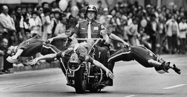 Motorcycle and drill team performs in 1981 at the 200 Years of Transportation on Parade on Spring Street. Photo by Dean Musgrove from the Herald-Examiner Collection. Photo courtesy Los Angeles Public Library