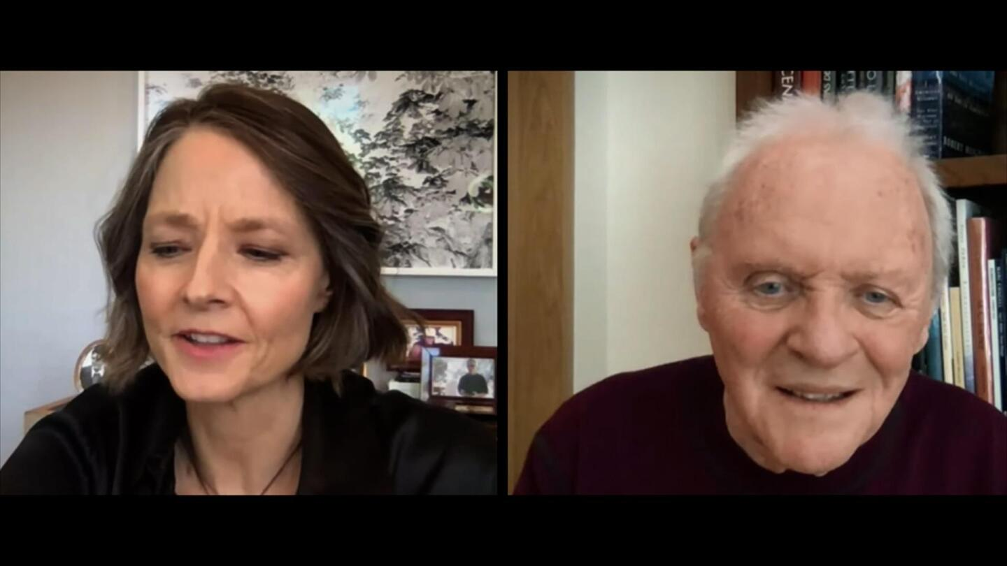 Jodie Foster and Anthony Hopkins on a Zoom call