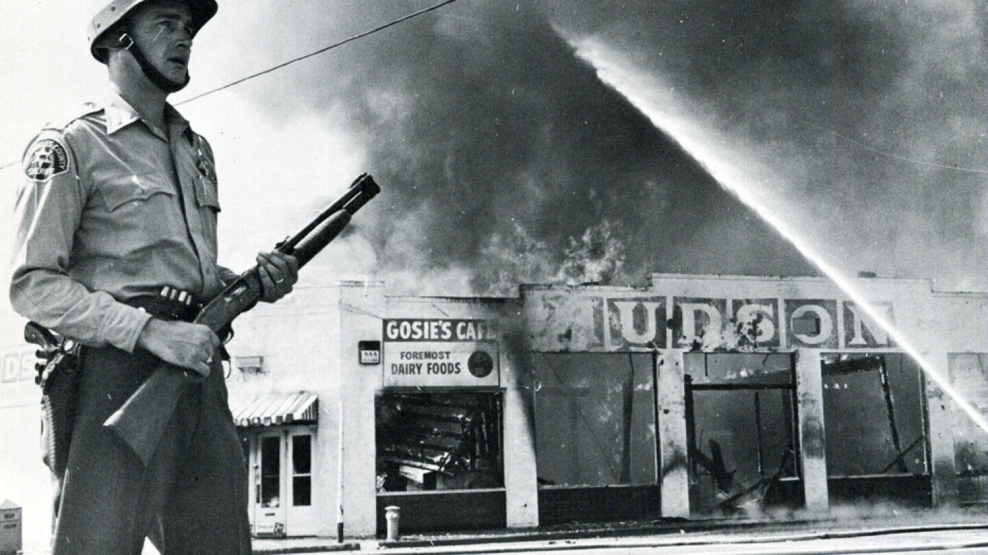 Police and community relations came under scrutiny during and after the riots, particularly by Lt. Governor Glen Anderson. I Photo courtesy of the California State University, Dominguez Hills archives -- Watts Then and Now exhibit.