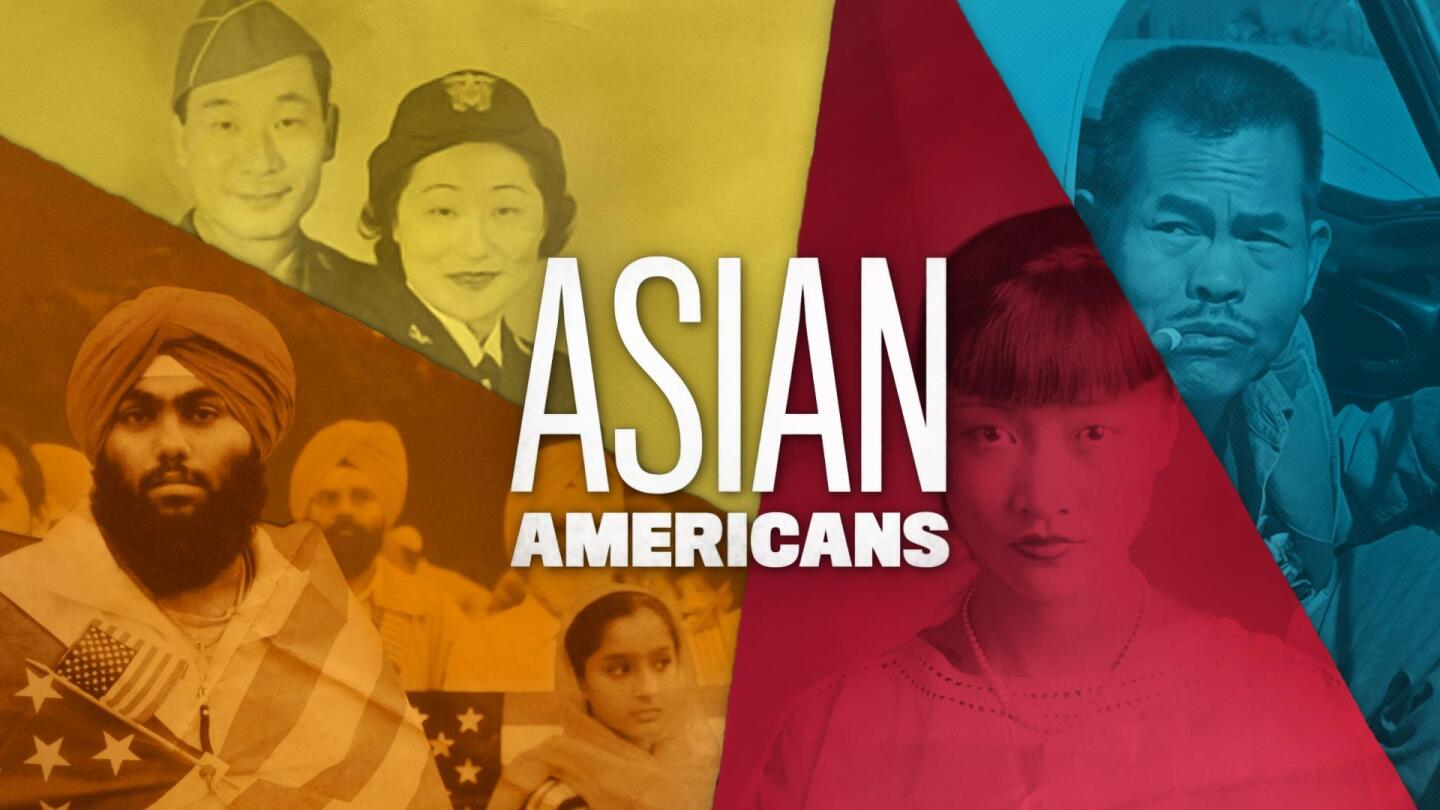 "Title card for ""Asian Americans,"" featuring different Asian American figures."