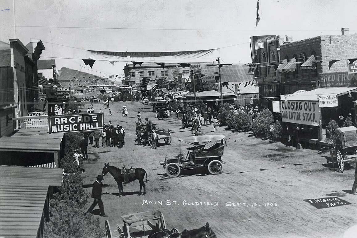 Main Street of Goldfield, NV on September 18, 1908. | E.W. Smith. Courtesy of the Nevada Historical Society.