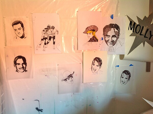 Sketches for mural panels.   Photo: Vincent Ramos