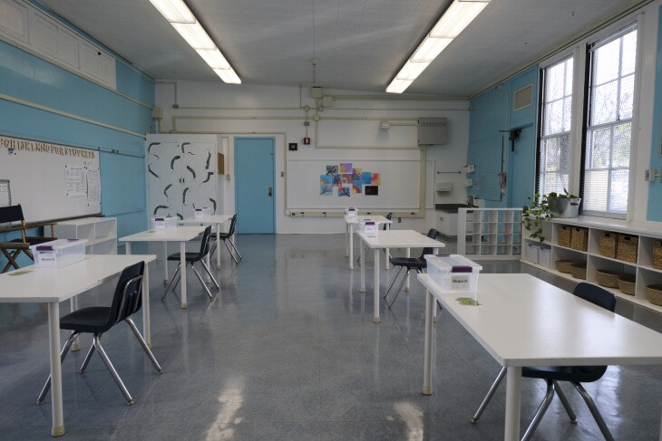 A kindergarten classroom at L.A. Unified's Walgrove Avenue Elementary School in Venice. Staff have removed furniture, toys and books from the room to comply with COVID-19 guidelines.