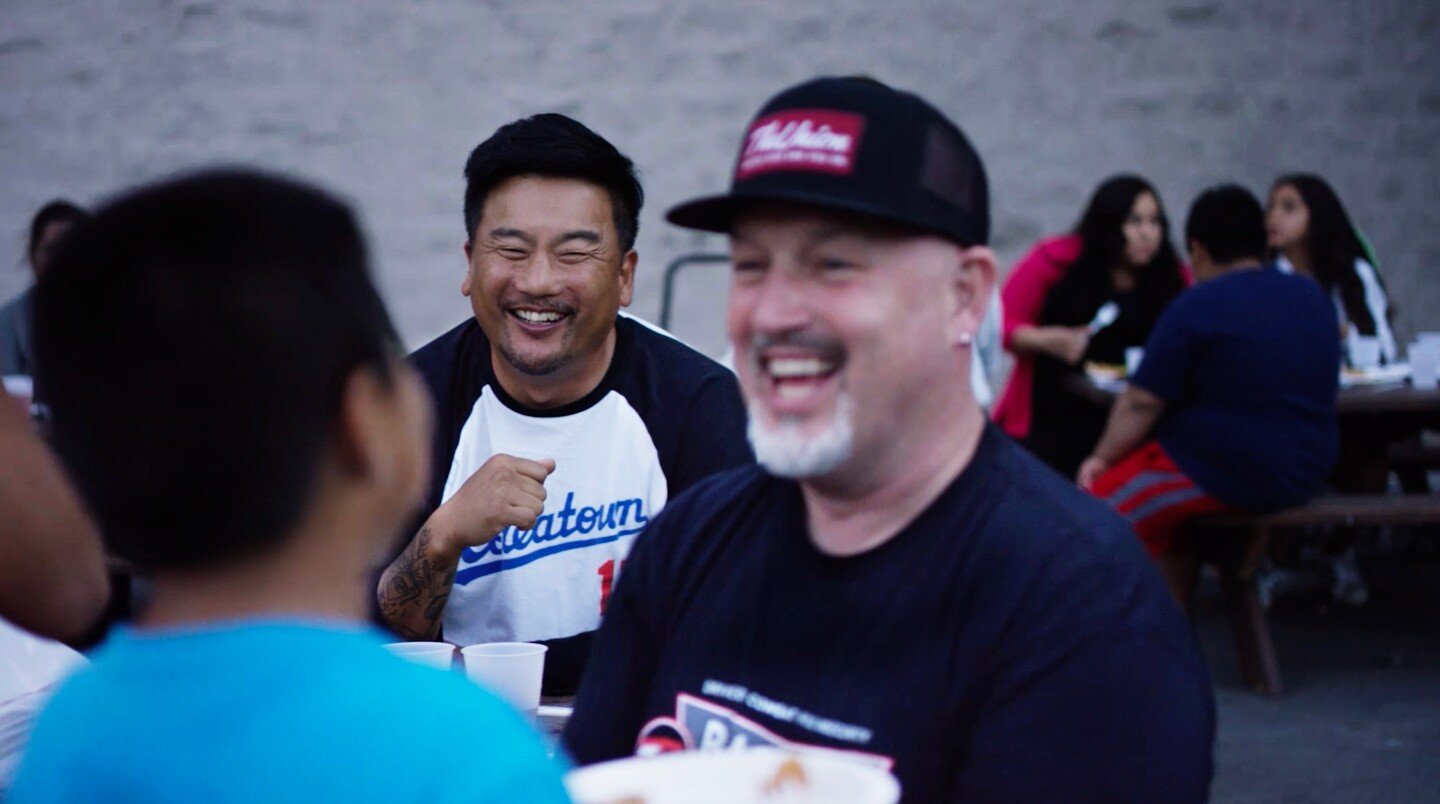"""Roy also visits Bill Bracken of Bracken's Kitchen who partners with Chefs to End Hunger to reuse leftover food and distribute it with his food truck in Orange County in the """"Waste"""" episode."""