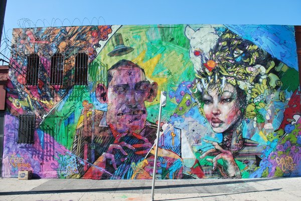 ARYZ from London and David Choe from L.A. combined to create this image<br /> at 7th and Mateo | © Jim Prigoff 2013