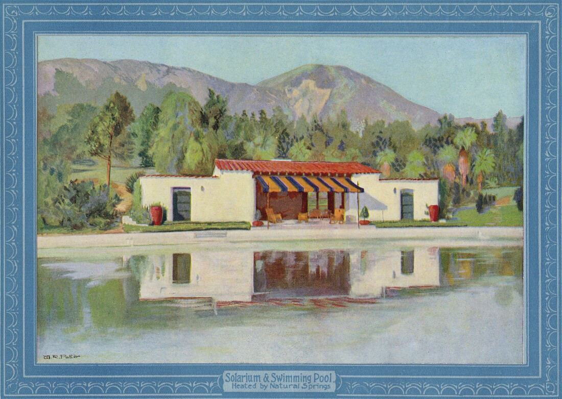 """Swimming pool in booklet titled """"The Famous Arrowhead Springs Hotel."""" 