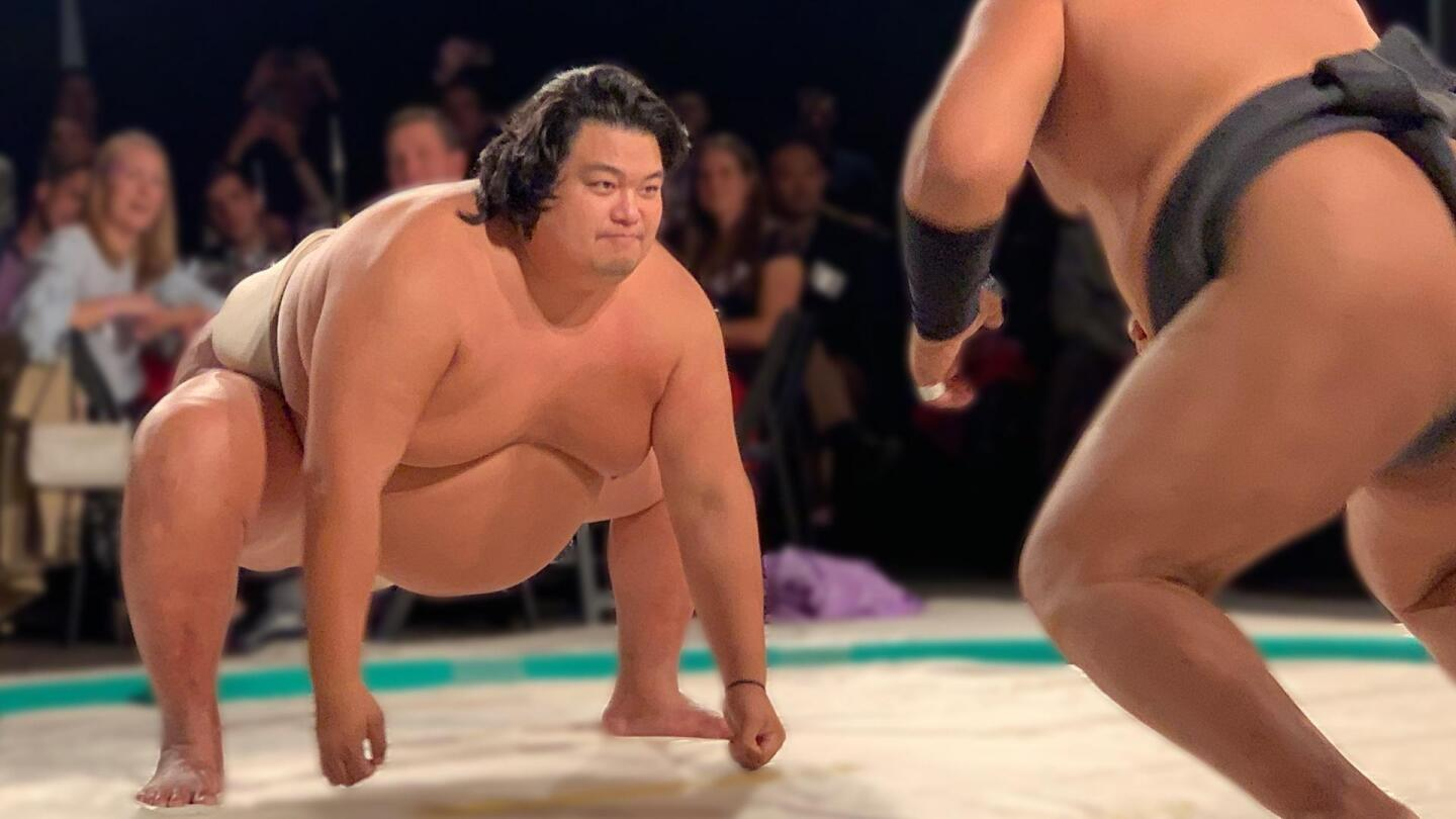 "Two sumo wrestlers are posed to begin their match. | ""NOVA: The Truth About Fat"""