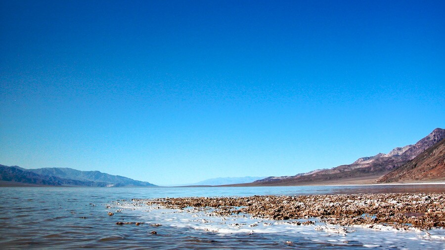 """""""Return"""" of Lake Manly After Hundred Year Rain - Death Valley, CA - 2005"""