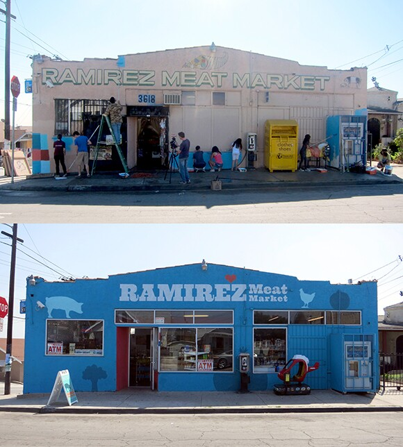 Ramirez Meat Market before and after its transformation as part of Proyecto MercadoFRESCO.