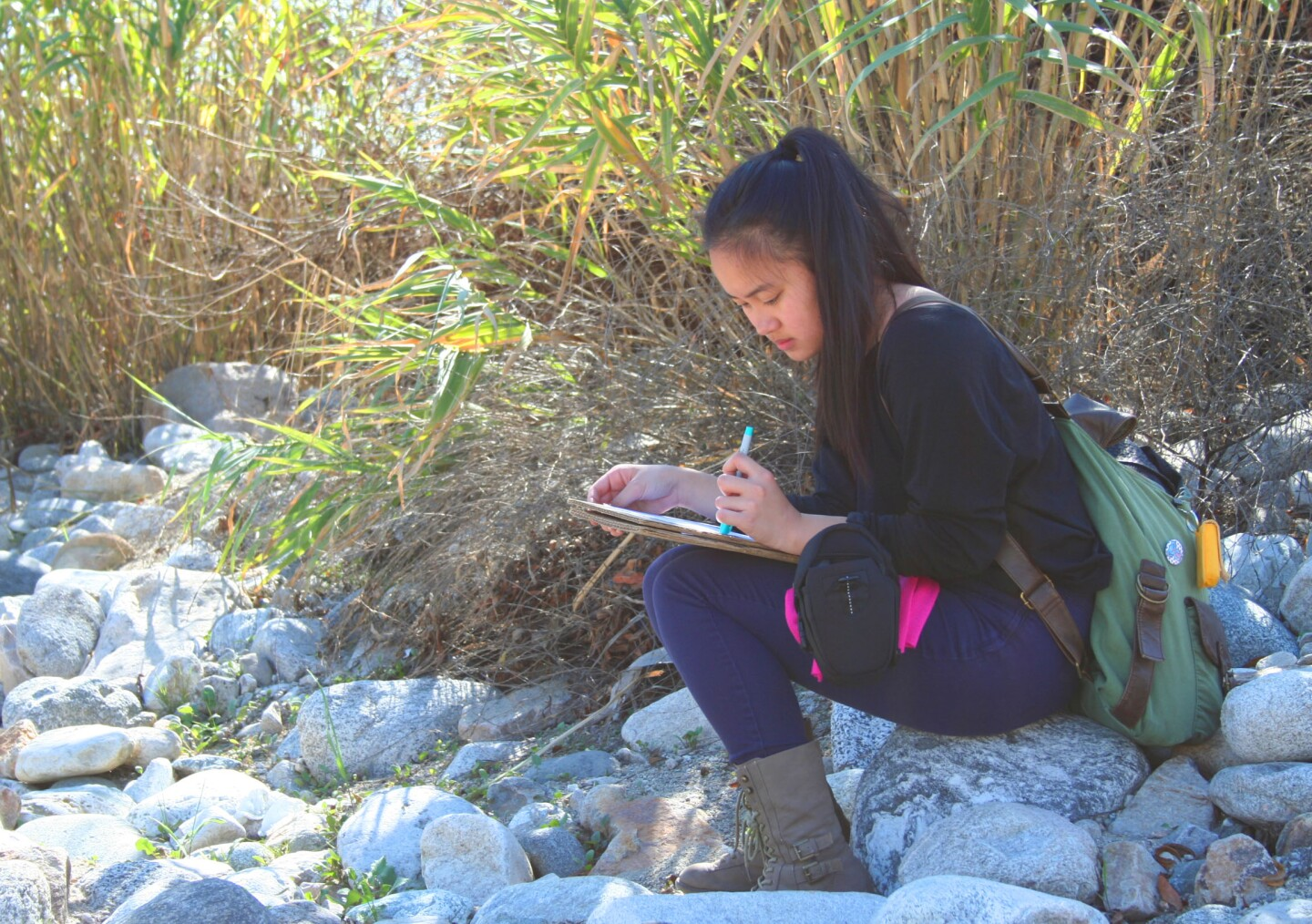 An L.A. River School student takes advantage of a quiet moment to draw