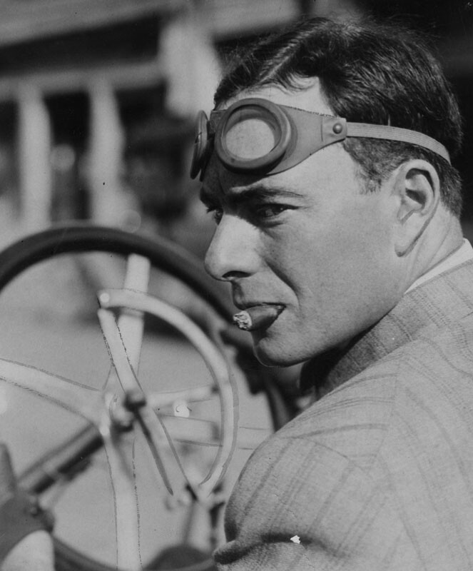 Ralph Hamlin, a cigar stub in his mouth and goggles on his head, is prepared to race his Franklin. Los Angeles Public Library, Herald-Examiner Collection. Photo circa 1908