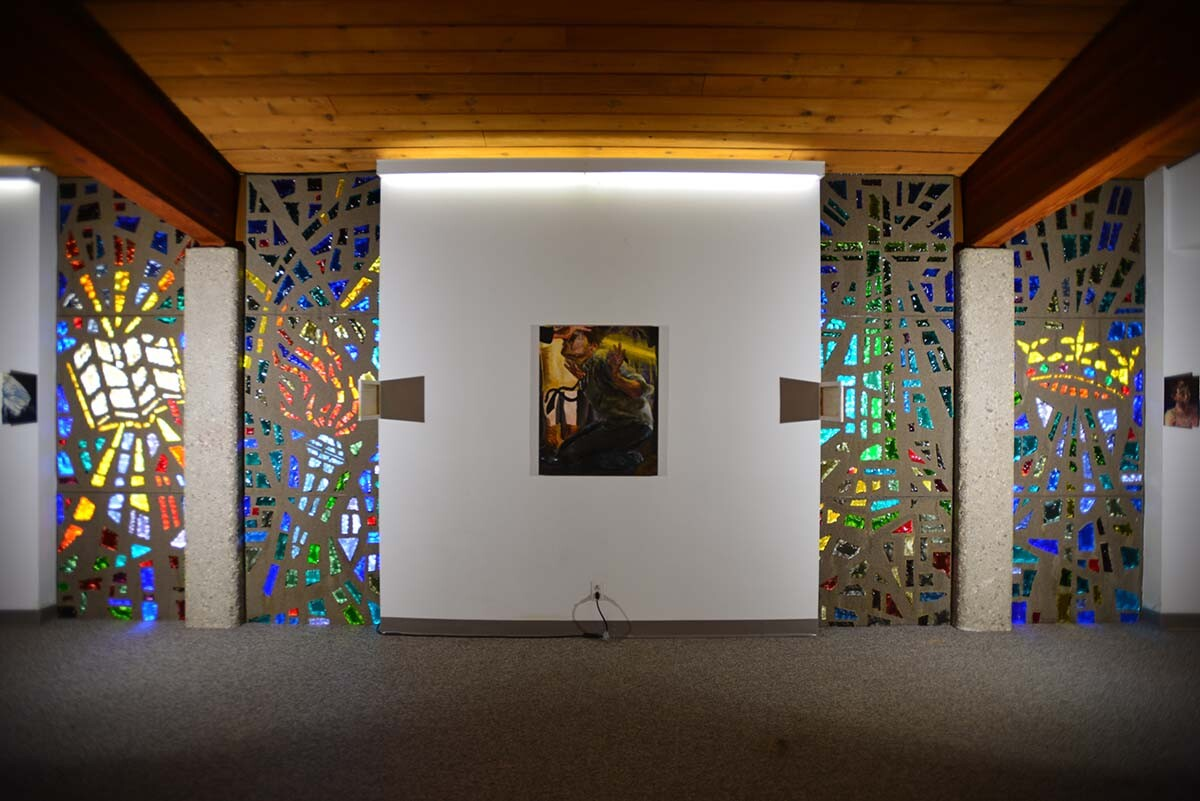 """Celeste Dupuy-Spencer, """"The Conversion,"""" 2020, oil on canvas, installation view 