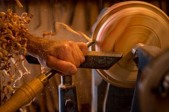 Atascadero woodworker Barry Lundgren turns a rough piece of boxelder maple. | Photo: Courtesy Barry Lundgren.