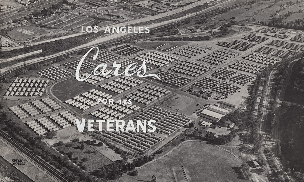 """""""Los Angeles Cares for its Veterans"""" Roger Young Village postcard 