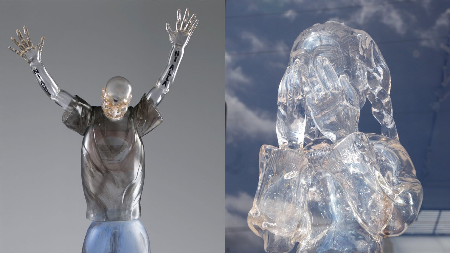 """Farm Worker"" and ""Broken Dreams"" glass pieces by Jaime Guerrero 
