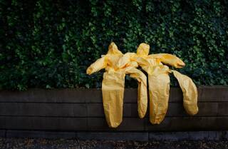 Yellow hazmat suits against a green background. | Thomson Reuters Foundation