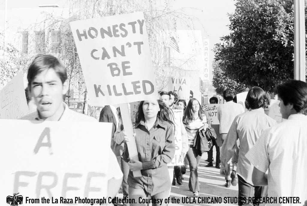 CSRC_LaRaza_B2F5C2_RR_010 Protesters at Roosevelt High School walkout | Raul Ruiz, La Raza photograph collection. Courtesy of UCLA Chicano Studies Research Center