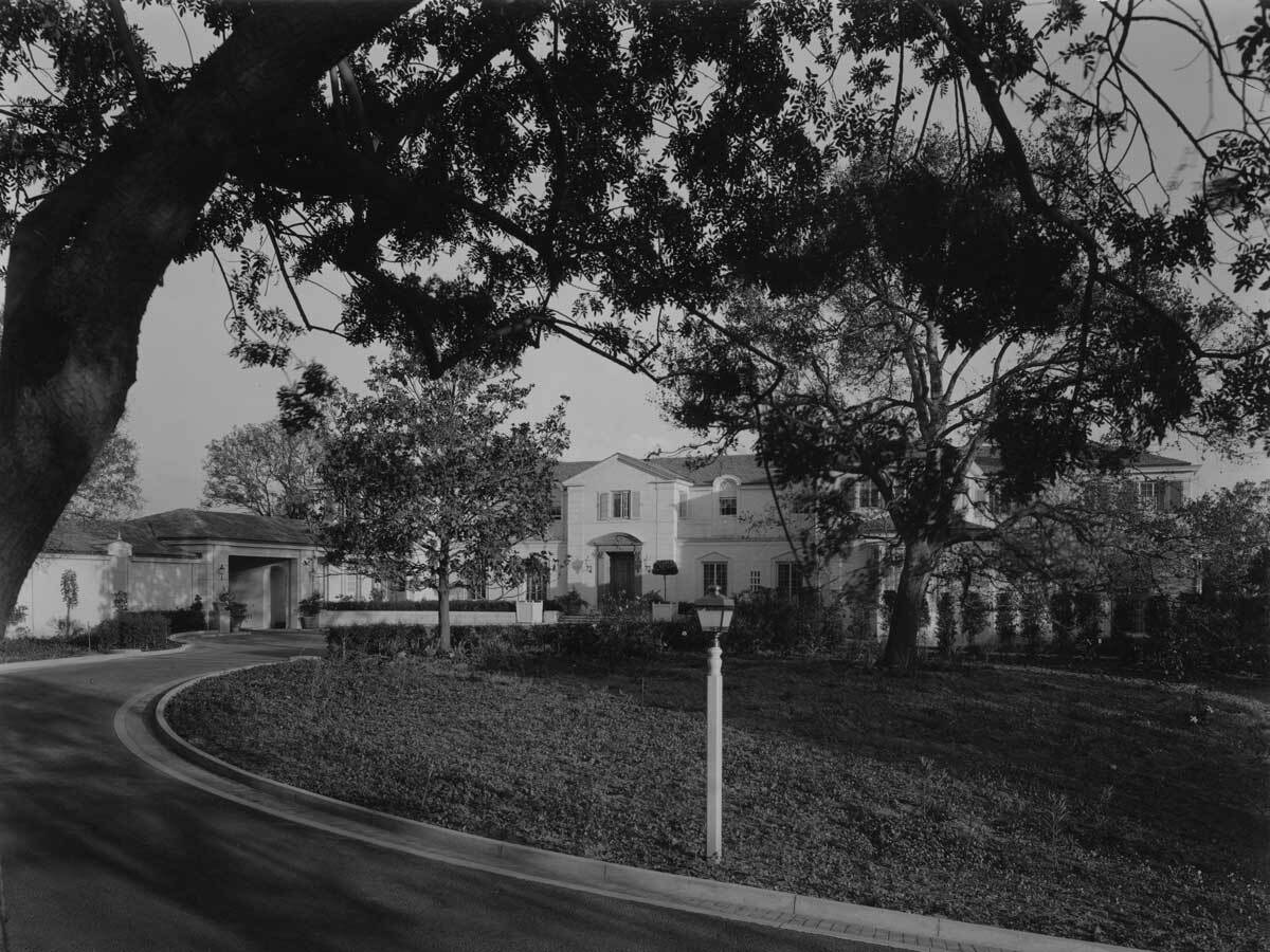 Paley Residence exterior with curving driveway, ca 1938 | Courtesy of California State Library, Mott-Merge Collection