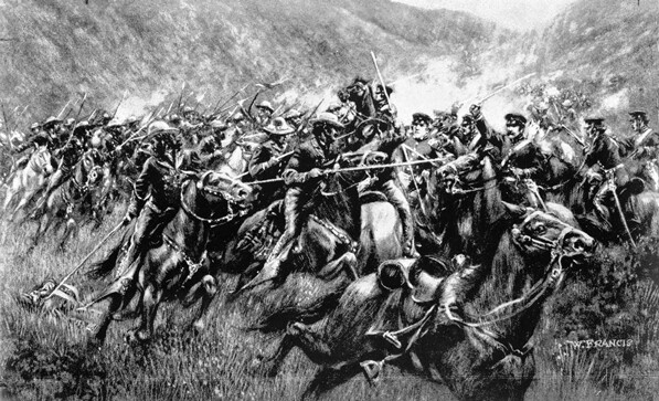 Drawing titled 'Charge of the Caballeros,' depicting the 1846 Battle of San Pasqual between Californian cavalry and U.S. Army troops. Courtesy of the Title Insurance and Trust / C.C. Pierce Photography Collection, USC Libraries.