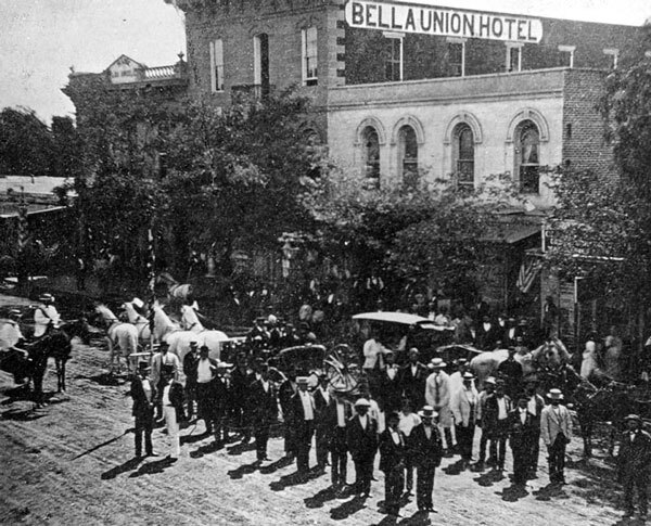 A Fourth of July parade assembles outside the Bella Union, circa 1873. Courtesy of the Photo Collection, Los Angeles Public Library.
