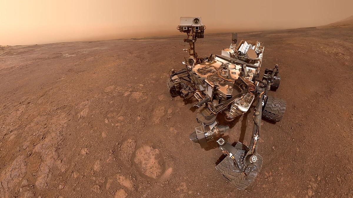 "A selfie taken by NASA's Curiosity Mars rover on Sol 2291 (January 15, 2019) at the ""Rock Hall"" drill site, on Vera Rubin Ridge. | NASA/JPL-Caltech"
