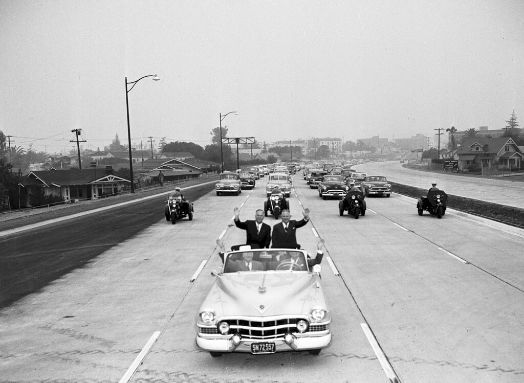 In 1951 dignitaries including California's lieutenant governor celebrated the opening of the Hollywood Freeway from Silver Lake to Western. Photo courtesy of the Los Angeles Examiner Collection, USC Libraries